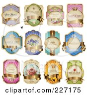 Royalty Free RF Clipart Illustration Of A Digital Collage Of Pretty Label Designs With Golden Banners by Anja Kaiser