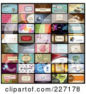 Digital Collage Of 40 Business Card Designs With Sample Text