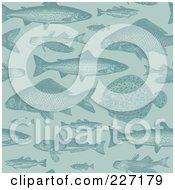 Royalty Free RF Clipart Illustration Of A Seamless Background Pattern Of Fish In Blue