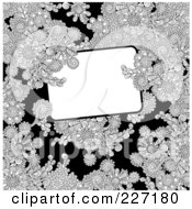 Royalty Free RF Clipart Illustration Of A White Box Framed With Ornate Black And White Floral Doodles On Black