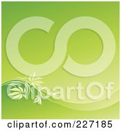 Royalty Free RF Clipart Illustration Of A Gradient Green Background With A Wave Of Leaves