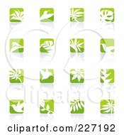Digital Collage Of Green And White Nature Logo Icons