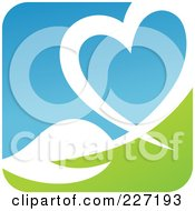 Royalty Free RF Clipart Illustration Of A Green Blue And White Botanical Logo Icon 4 by elena