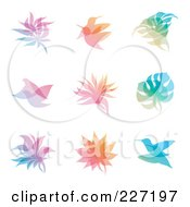 Royalty Free RF Clipart Illustration Of A Digital Collage Of Gradient Leaf And Bird Overlay Logo Icons