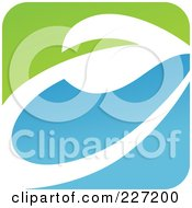 Royalty Free RF Clipart Illustration Of A Green Blue And White Botanical Logo Icon 2