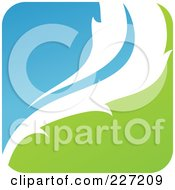 Royalty Free RF Clipart Illustration Of A Green Blue And White Botanical Logo Icon 16