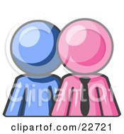 Blue Person Standing Beside A Pink Businessman Symbolizing Teamwork Or Mentoring