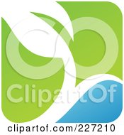 Royalty Free RF Clipart Illustration Of A Green Blue And White Botanical Logo Icon 3