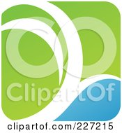 Royalty Free RF Clipart Illustration Of A Green Blue And White Botanical Logo Icon 6