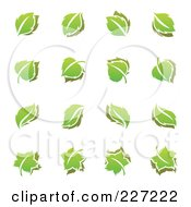 Royalty Free RF Clipart Illustration Of A Digital Collage Of Green Leaf Logo Icons