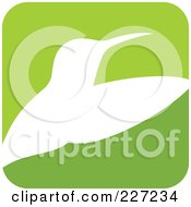 Green And White Hummingbird Logo Icon - 1