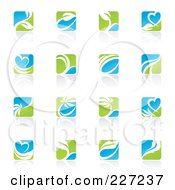 Royalty Free RF Clipart Illustration Of A Green Blue And White Botanical Logo Icons And Reflections by elena