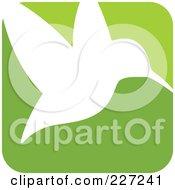 Green And White Hummingbird Logo Icon - 2