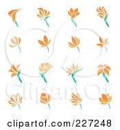 Royalty Free RF Clipart Illustration Of A Digital Collage Of Orange Flower Logo Icons by elena