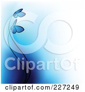 Royalty Free RF Clipart Illustration Of A Background Of Two Blue Butterflies And Gradient Blue To White by elena