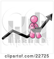 Pink Man Using A Laptop Computer Riding The Increasing Arrow Line On A Business Chart Graph