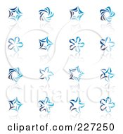 Royalty Free RF Clipart Illustration Of A Digital Collage Of Abstract Blue Star Logo Icons by elena