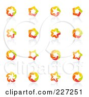 Royalty Free RF Clipart Illustration Of A Digital Collage Of Abstract Orange Green Red And Yellow Star Logo Icons