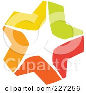 Royalty Free RF Clipart Illustration Of An Abstract Orange Green Red And Yellow Star Logo Icon 7