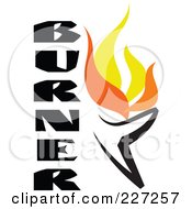 Royalty Free RF Clipart Illustration Of A Flaming Burner With Text Logo