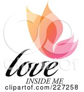 Royalty Free RF Clipart Illustration Of A Colorful Love Inside Me Overlay Butterfly Logo by elena