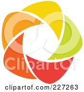 Royalty Free RF Clipart Illustration Of An Abstract Orange Green Red And Yellow Star Logo Icon 8