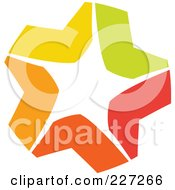Royalty Free RF Clipart Illustration Of A Yellow Green Red And Orange Star