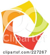 Royalty Free RF Clipart Illustration Of An Abstract Orange Green Red And Yellow Star Logo Icon 2