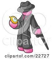 Clipart Illustration Of A Pink Businessman Checking His Pocket Watch