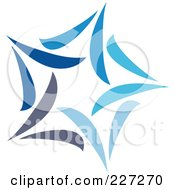 Royalty Free RF Clipart Illustration Of An Abstract Blue Star Logo Icon 5