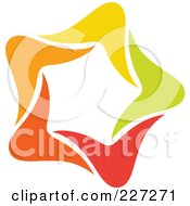Royalty Free RF Clipart Illustration Of An Abstract Orange Green Red And Yellow Star Logo Icon 12