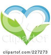 Royalty Free RF Clipart Illustration Of A Blue Sky And Green Leaf Heart Logo by elena