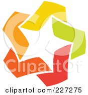 Royalty Free RF Clipart Illustration Of An Abstract Orange Green Red And Yellow Star Logo Icon 5