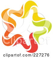 Royalty Free RF Clipart Illustration Of An Abstract Orange Green Red And Yellow Star Logo Icon 15