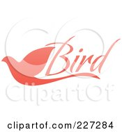 Royalty Free RF Clipart Illustration Of A Pink Flying Dove Bird Logo