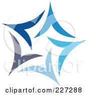 Royalty Free RF Clipart Illustration Of An Abstract Blue Star Logo Icon 12 by elena