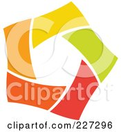 Royalty Free RF Clipart Illustration Of An Abstract Orange Green Red And Yellow Star Logo Icon 4