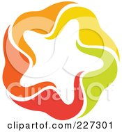 Royalty Free RF Clipart Illustration Of An Abstract Orange Green Red And Yellow Star Logo Icon 1