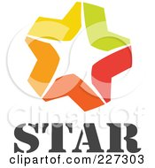 Royalty Free RF Clipart Illustration Of A Yellow Green Red And Orange Star With Text