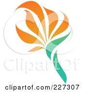 Royalty Free RF Clipart Illustration Of An Orange Flower Logo Icon 2