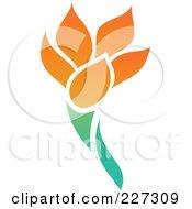 Royalty Free RF Clipart Illustration Of An Orange Flower Logo Icon 3