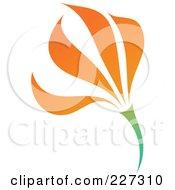 Royalty Free RF Clipart Illustration Of An Orange Flower Logo Icon 5