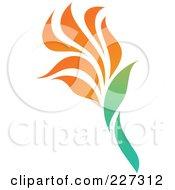 Royalty Free RF Clipart Illustration Of An Orange Flower Logo Icon 4