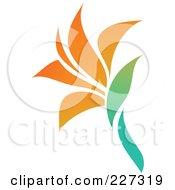 Royalty Free RF Clipart Illustration Of An Orange Flower Logo Icon 9