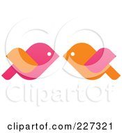 Royalty Free RF Clipart Illustration Of Orange And Pink Love Birds Kissing by elena