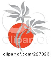 Royalty Free RF Clipart Illustration Of A Red And Gray Palm Tree Logo
