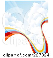 Royalty Free RF Clipart Illustration Of A Background Of A Curving Rainbow In A Cloudy Blue Sky With White Copyspace by elena