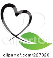 Royalty Free RF Clipart Illustration Of A Black Heart And Green Leaf Logo