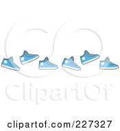 Royalty Free RF Clipart Illustration Of A Border Of Running Blue Sneakers by Johnny Sajem
