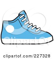 Royalty Free RF Clipart Illustration Of A Blue And White Hi Top Sneaker by Johnny Sajem